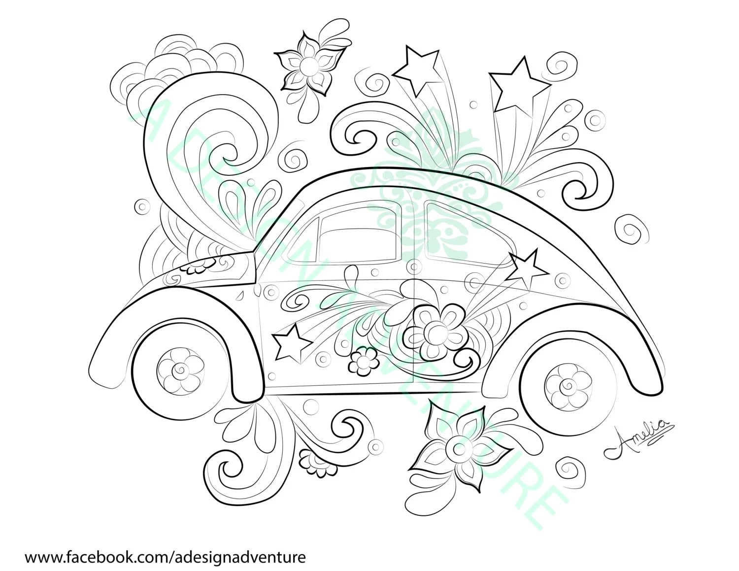 Peace and Love Bug Downloadable Coloring Page by