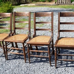Antique Cane Dining Room Chairs Baby Bouncy Vintage Wooden Chair Set Of 4 Seat Rustic