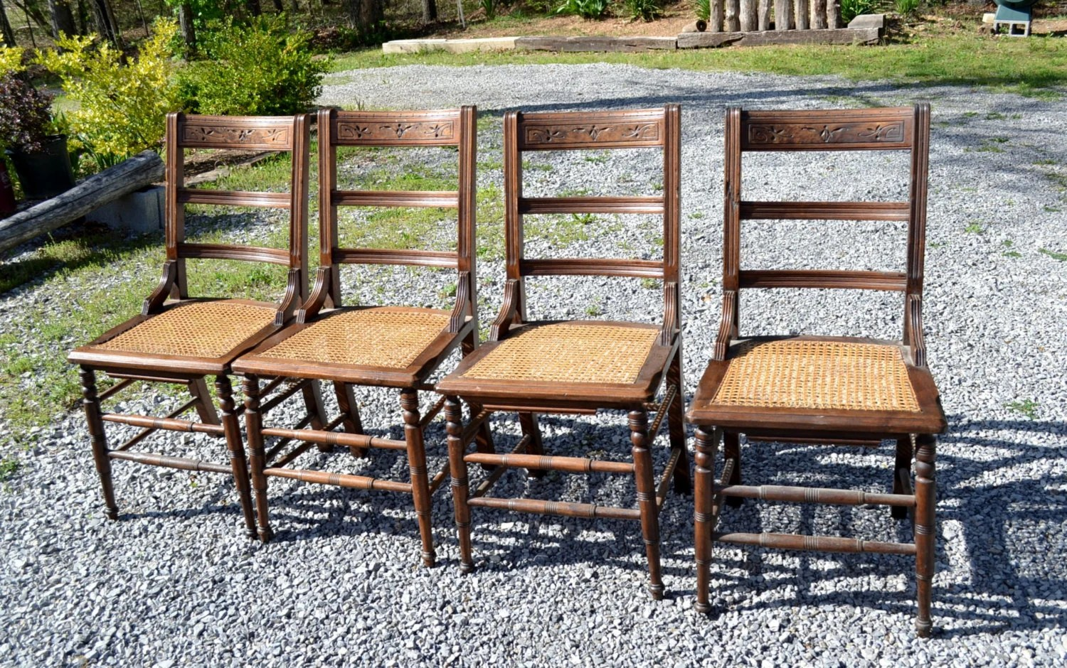 antique cane seat dining chairs slip covers for vintage wooden chair set of 4 rustic room