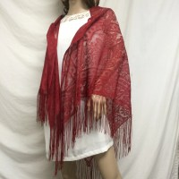 Free ship red lace shawl wrap fringed piano scarf angel