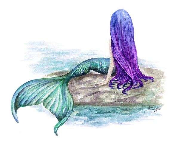 Mermaid Watercolor Art Print Painting Wall