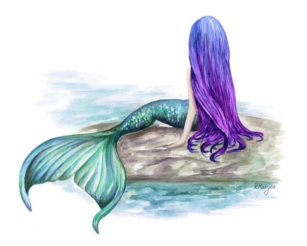 Mermaid Art Print Watercolor
