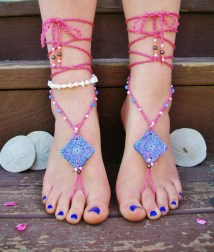 Purple And Pink Beaded Barefoot Sandals Footless