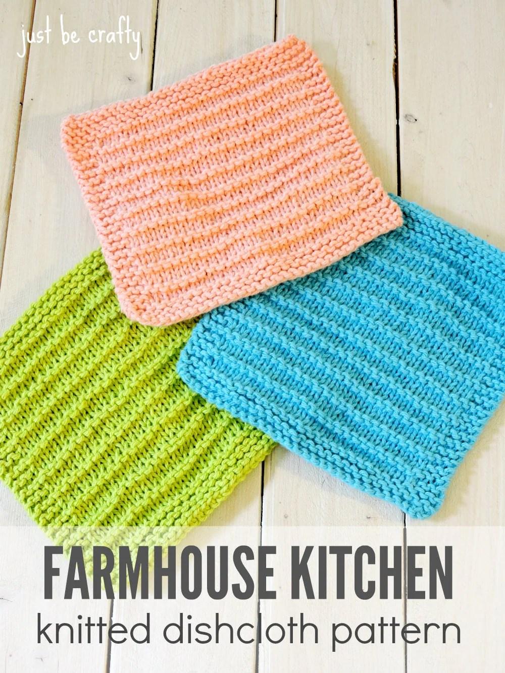 Knitted Dishcloth Pattern PDF Download Farmhouse Kitchen