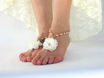 Bridesmaid Barefoot Sandals Peach Wedding Flower