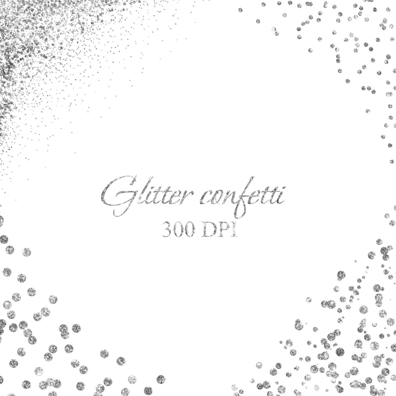 Silver Confetti Borders And Corners Clipart Glitter
