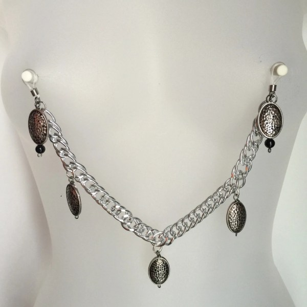 Pierced Nipple Dangles With Chain Noose