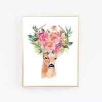 Deer art print Bohemian wall art Boho Decor Office prints