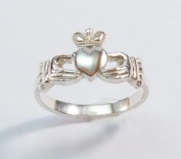 promise ring for her claddagh ring silver by SilverThreeSnails