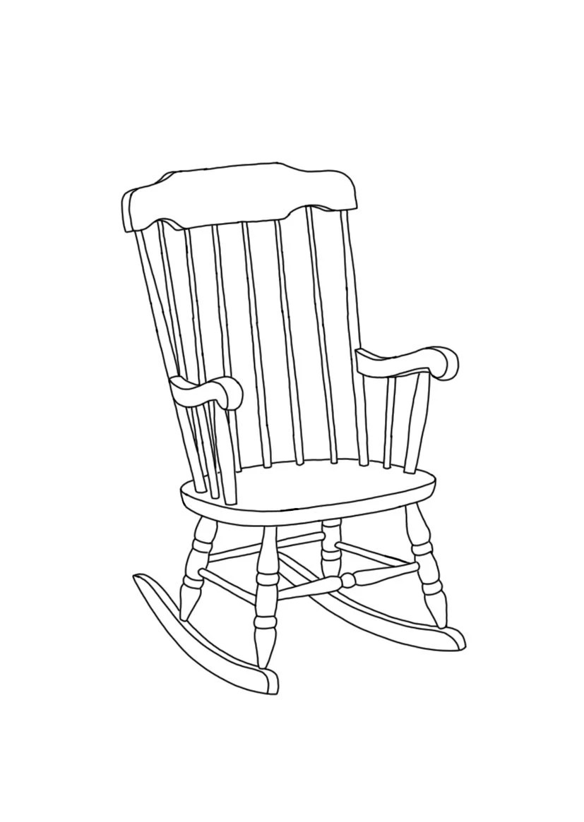 Items similar to Rocking Chair linear line hand drawing A6