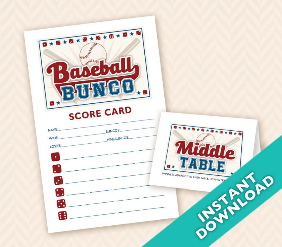 Baseball Bunco Printable ...
