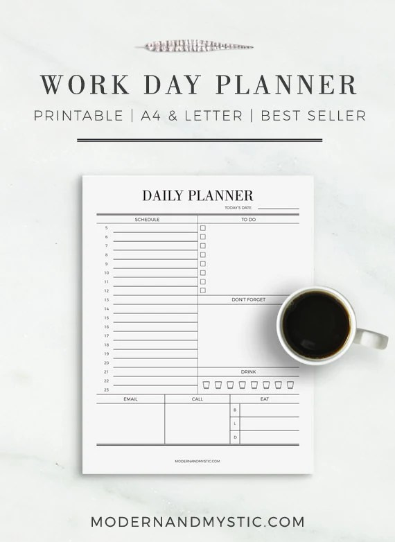 Work Day Planner Daily Planner Planner for Work