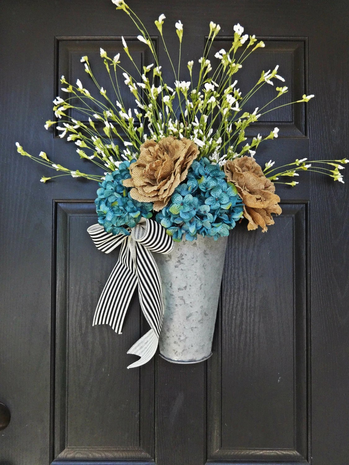 Items Similar To Galvanized Bucket Door Hanger Burlap