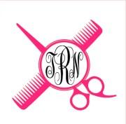 scissor & comb monogram vinyl decal
