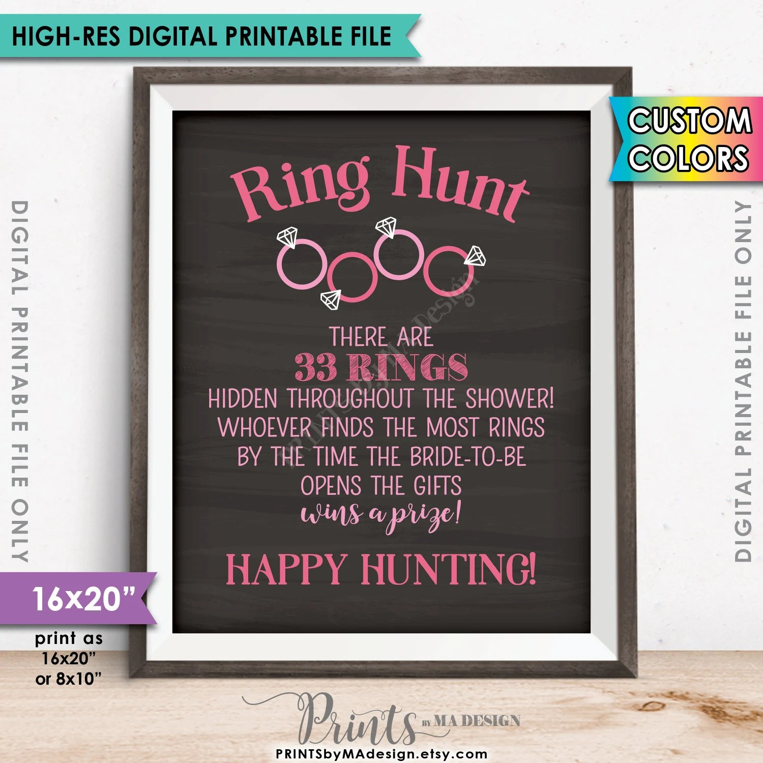 Ring Hunt Bridal Shower Game Sign Ring Scavenger Hunt Game