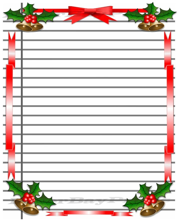 graphic regarding Printable Lined Paper With Border titled Xmas Composing Paper With Border Enjoyment and activity
