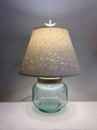 Fillable Recycled Glass Lamp Base with Shorebirds