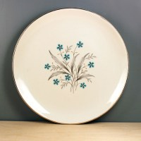 1950s dinner plate with blue flowers mid-century modern