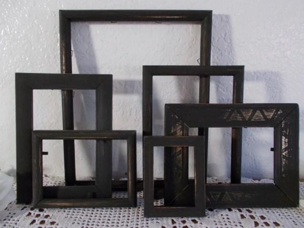 Rustic Black Frame Set Cycled Vintage Wood