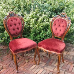 Victorian Parlor Chairs Chair Covers For Sale Ireland Pair Of Antique Burgundy Velvet