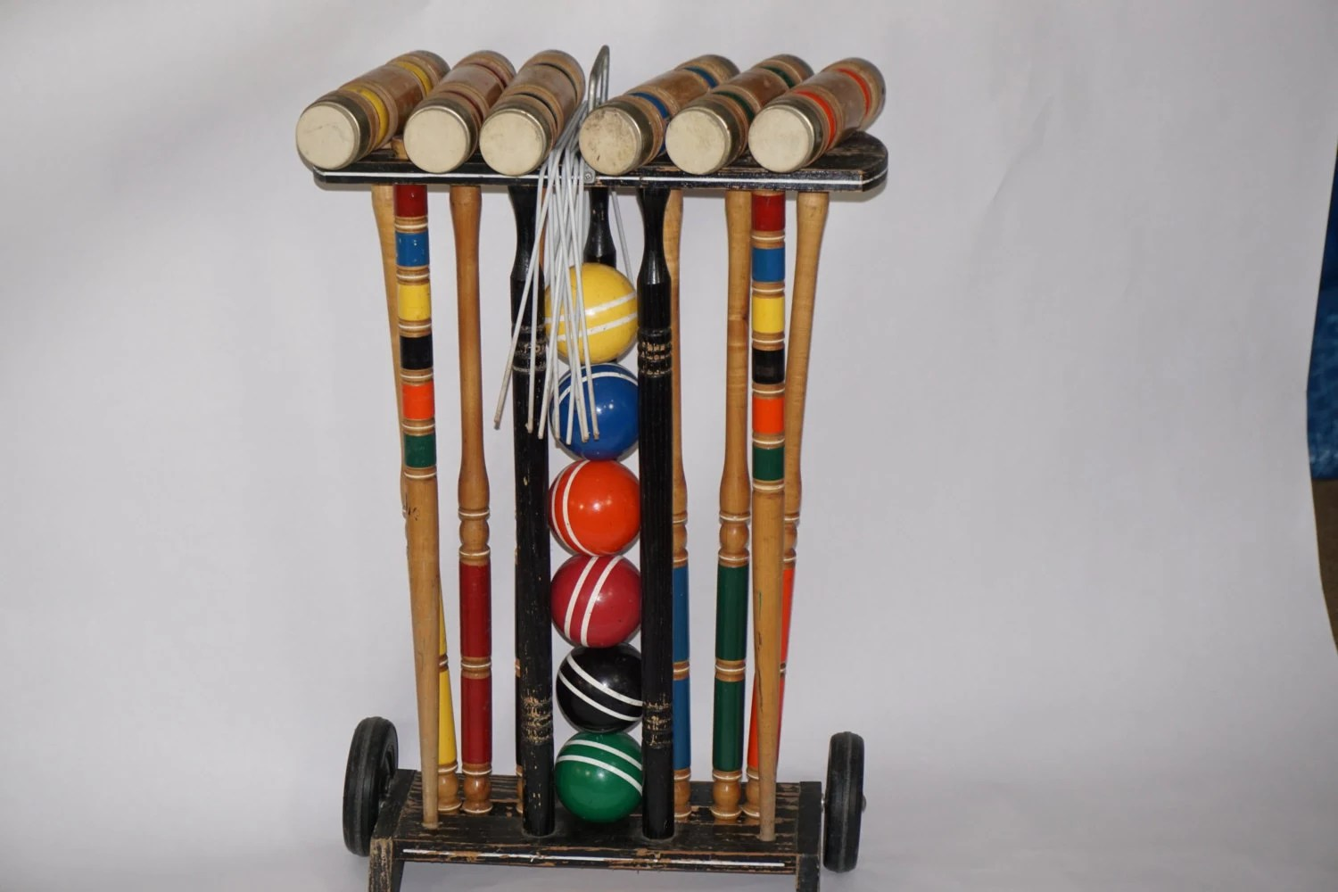 CROQUET Set On Wheeled Cart 6 Player Vintage Wooden Croquet