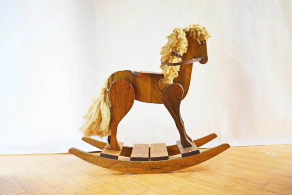 Vintage Rocking Horse Rustic Wooden Childs