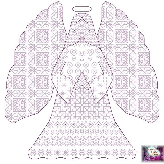 Black work Angel cross stitch pattern/chart pdf instant