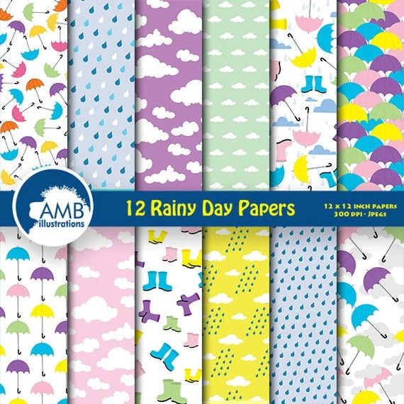 80OFF Rainy day digital paper weather paper by