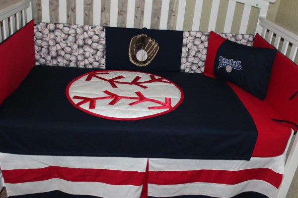 Crib Bedding Set Baseball Red White And Blue 6 Piece Quilted