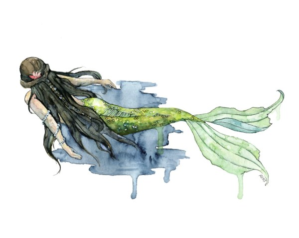 Watercolor Mermaid Painting Print Titled