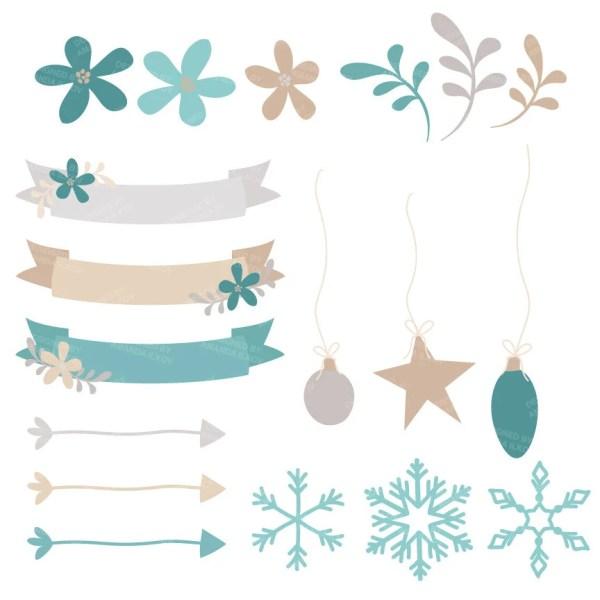 teal blue christmas wreath clip