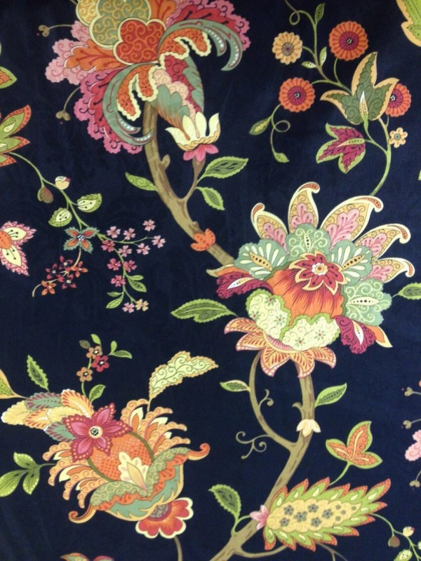 Vibrant Floral And Black Fabric - Upholstery