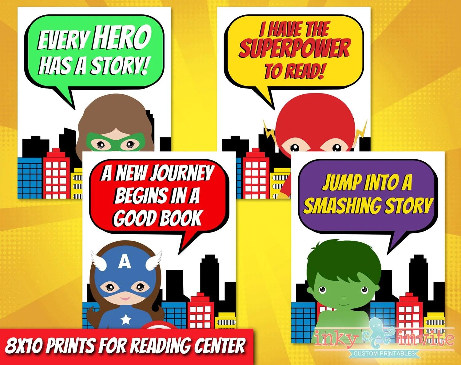 Superhero Classroom Reading Center Posters Pre School