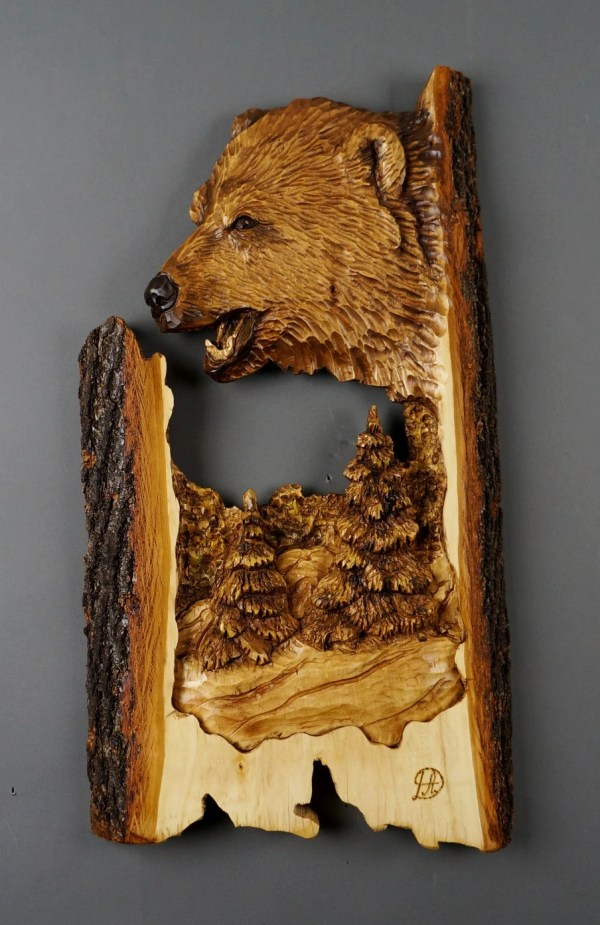 Bear Carved Wood Art Wall Sculpture Animalier