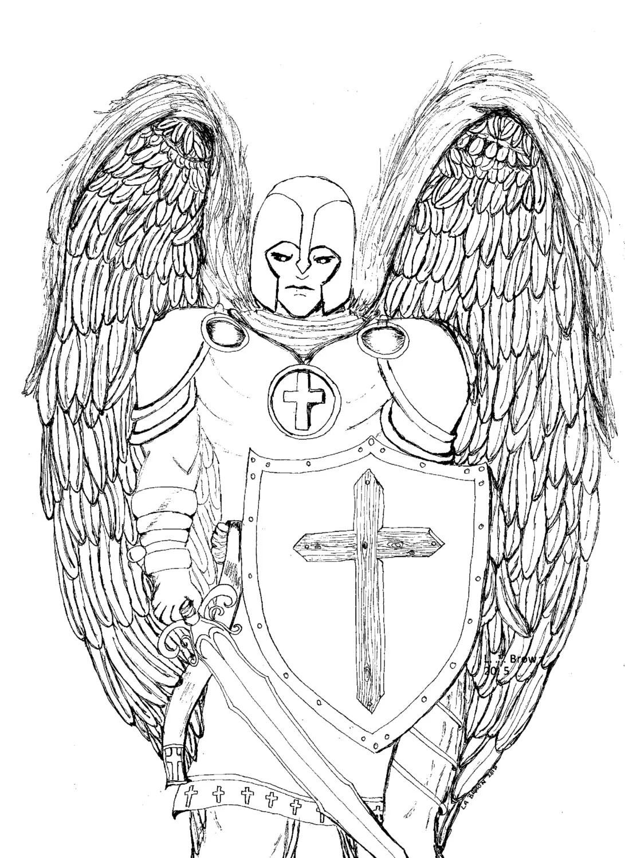 Printable coloring page Guardian Angel