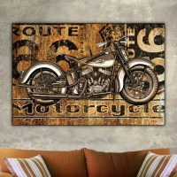 Route 66 Harley-Davidson Motorcycle 24x36 Canvas by ...