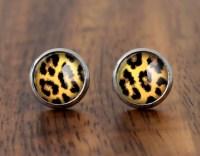 Leopard print stud earrings small glass ear studs