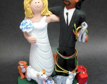 Mixed Race Interracial Wedding Cake Topper Wedding Cake