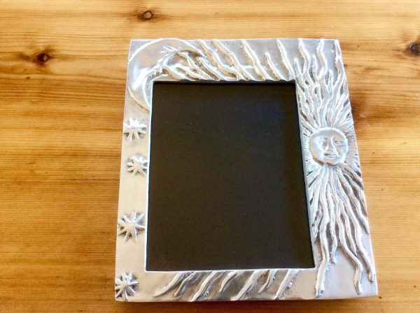 Large Mexican Pewter Frame. Sun Moon. Fits 8.5 X 11