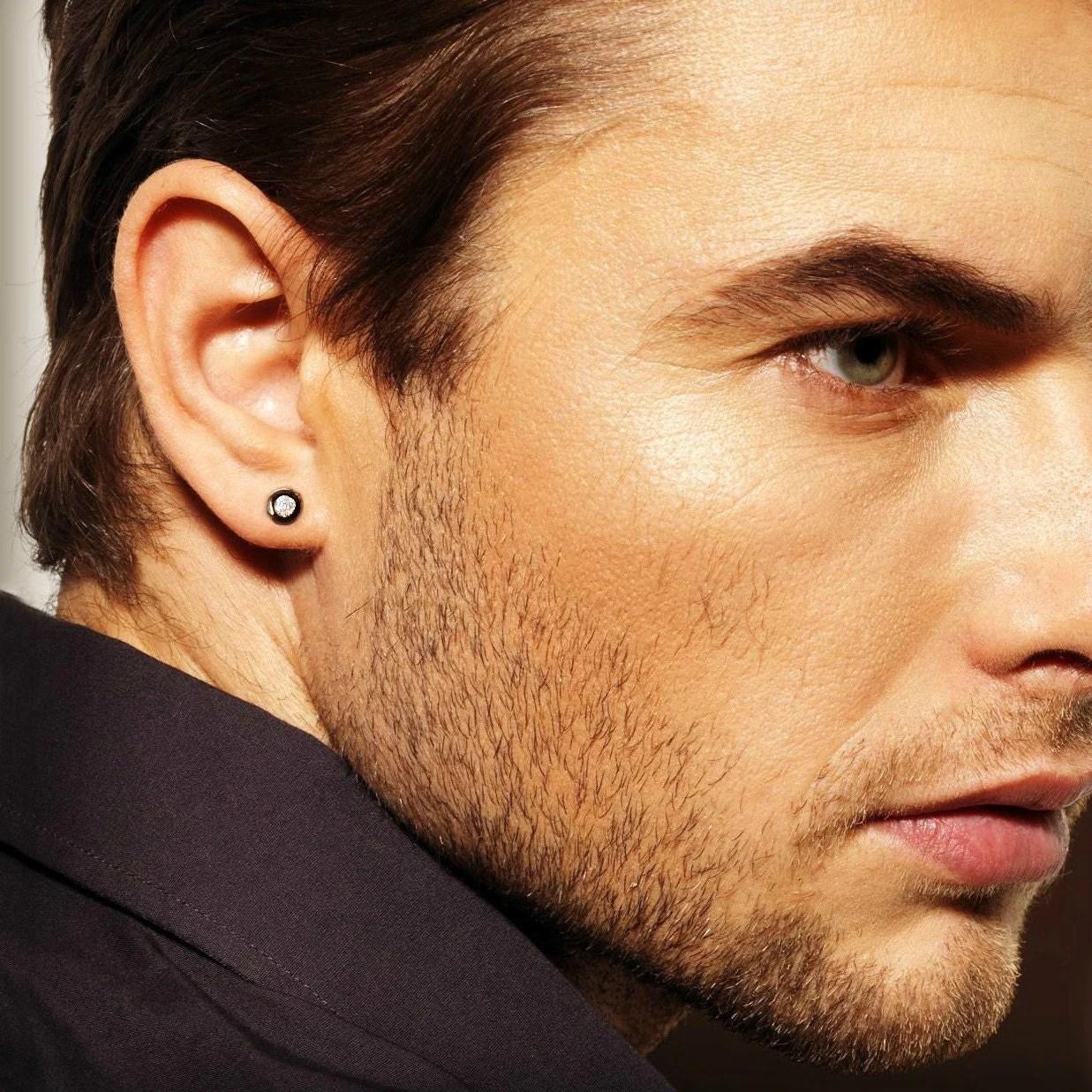 Real diamond stud earrings for men mens diamond studs black