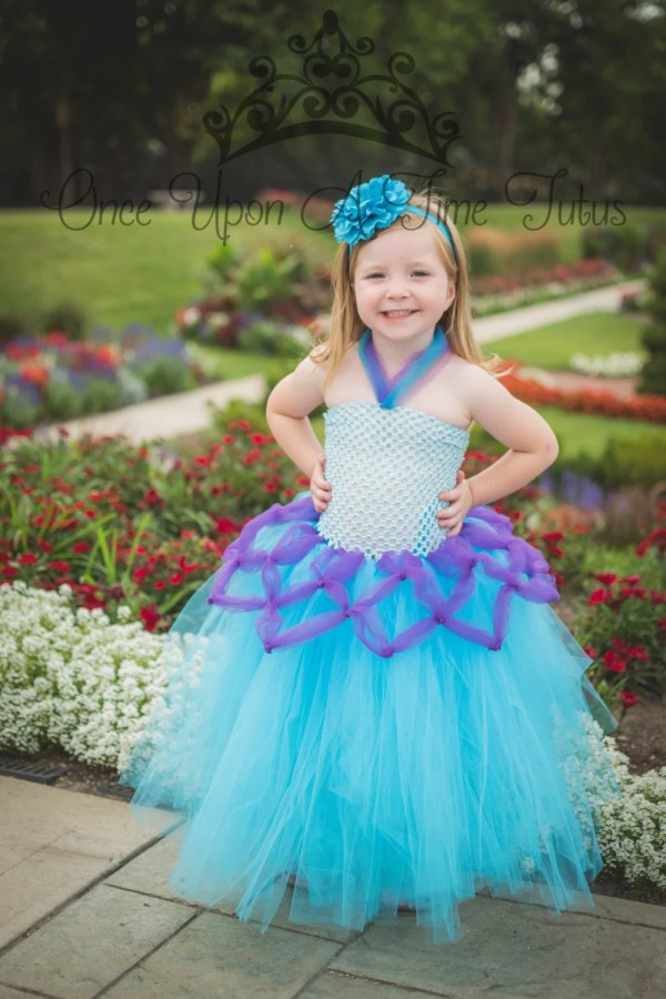 Purple Blue Mermaid Tutu Dress Halloween Costume Little