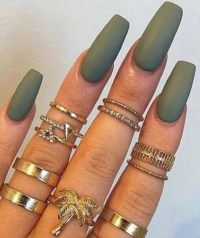 Olive Military Army Green Matte/Glossy Fake Press On by ...