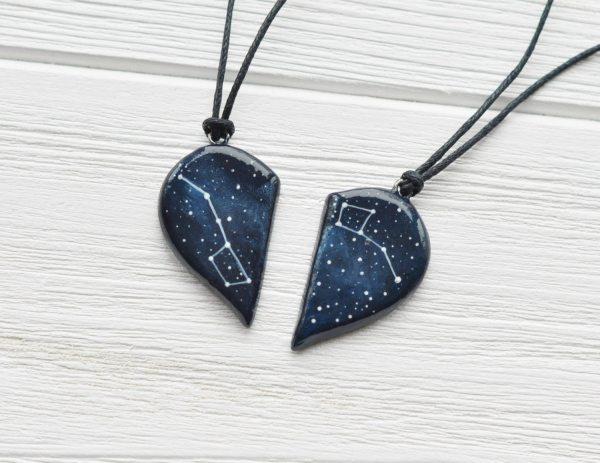 Heart Necklace Big Dipper Pendant Little Two