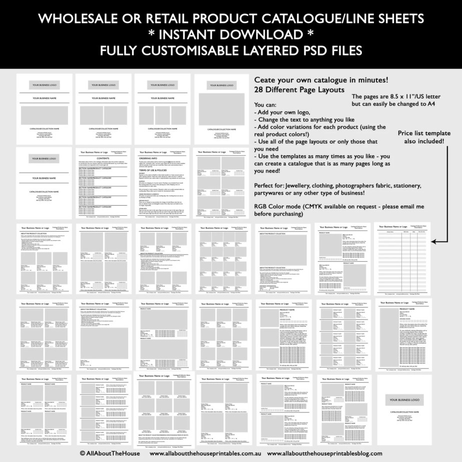 retail or wholesale catalogue template mockup photoshop template layered psd fully customisable editable indesign illustrator line sheet product pricing list ordering invoice form-min