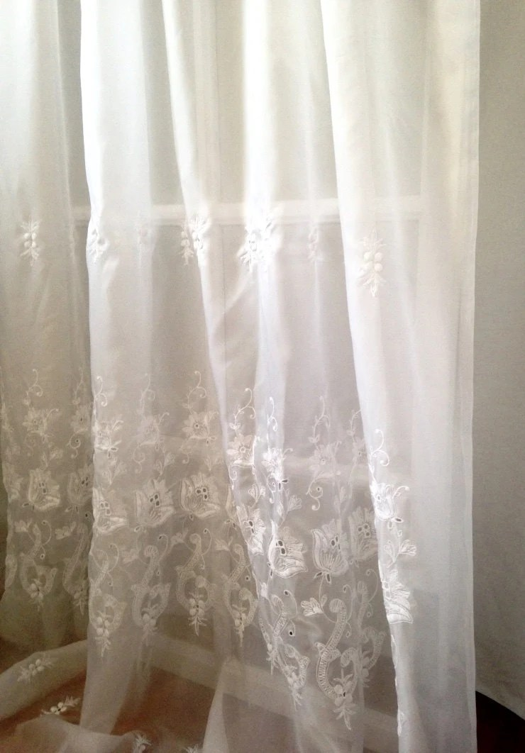 Extra Long Embroidered Sheer Rarpel Curtain By LisaLiYesterYears