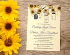 Sunflower Wedding Invitation Card - Mason Jar Wedding Invitation - Rustic Wedding - Southern Wedding Invitation - WE Print | Custom Colors