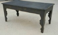 Shabby chic farmhouse style coffee table with gray distressed