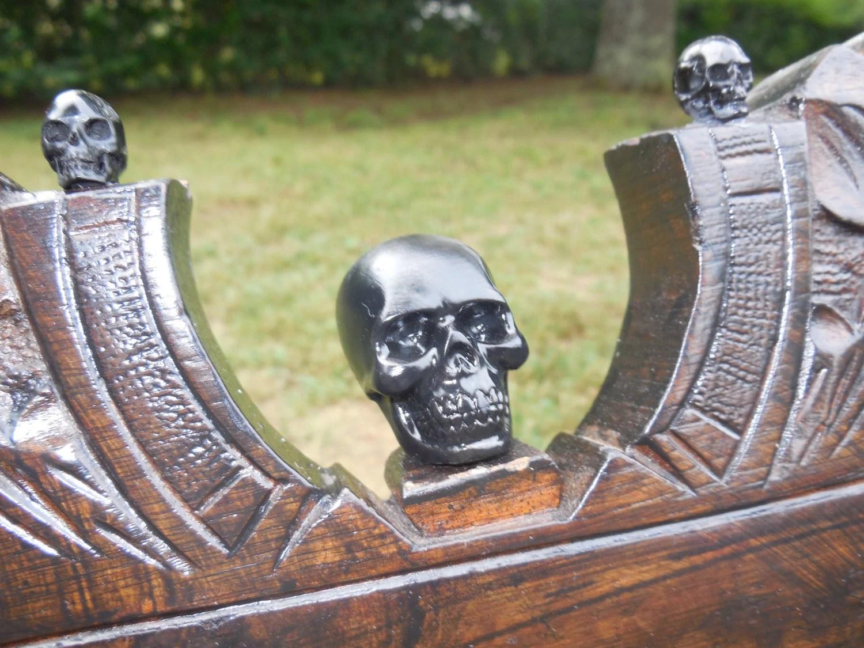 black skull chair used hanging for sale rocking velvet gothic antique rocker