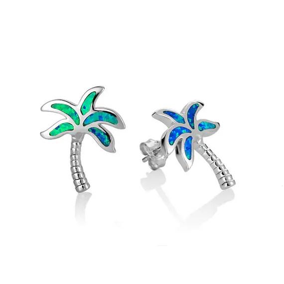 Sterling Silver Palm Tree Opal Earrings