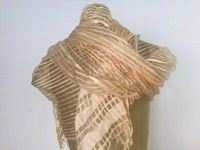 Gold Striped Scarf Long Vintage Scarf Sheer Gold Scarf